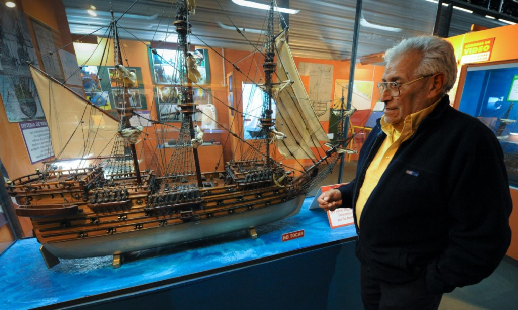 Treasure hunter Rubén Collado stands in front of a model of the British 64-cannon ship Lord Clive in Colonia del Sacramento, 188km west of Montevideo. Photograph: AFP/Getty Images