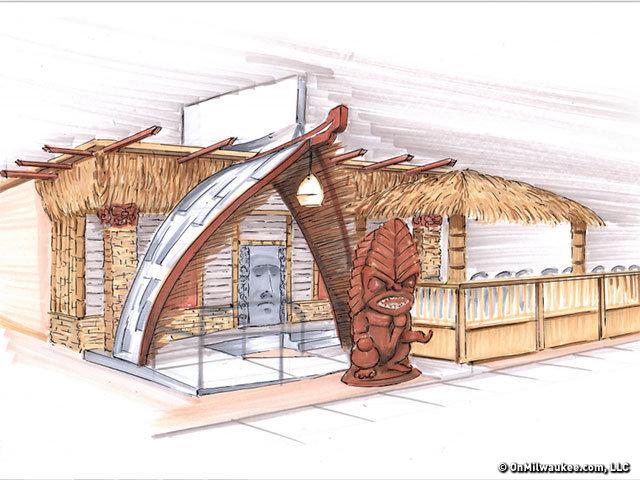 Wauwatiki Tiki Bar & Restaurant coming to Milwaukee. Drawing courtesy of OnMilwaukee.com