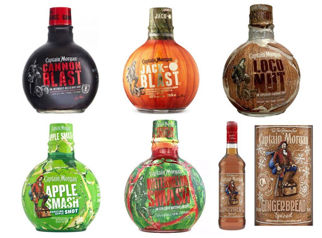 Captain Morgan Special Releases: Cannon Blast, Jack-O Blast, Loco Nut, Apple Smash, Watermelon Smash, Gingerbread